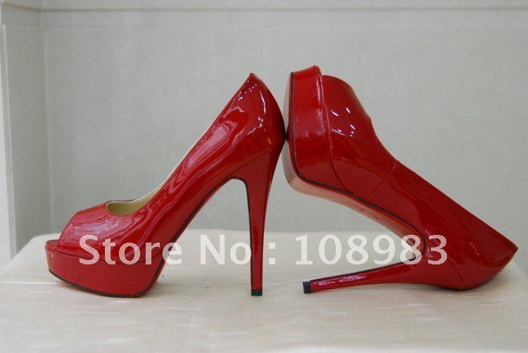 Red Peep Toe Platform Heels