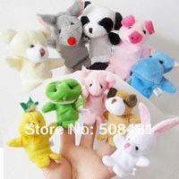 10pcs/set  Free Shipping Wholesale Finger Animal Puppet Plush Fingers Baby Toy Dolls Cartoon Toys Children