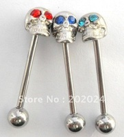 Free Shipping! 316L Stainless Steel Skull Tongue Ring,Body Jewelry