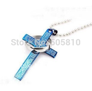 Men's Ring - Super Cool Titanium Steel Men Boy Bible & Cross Marked Fashion Pendant necklace(China (Mainland))