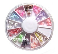 Freeshipping Pretty Multicolor 36PCS 3D Rose Flower Acrylic Nail Art Tips Decoration UV Acrylic Wheel