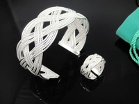 Free Shipping 925 Sterling Silver Set,925 Sterling silver Bangle&Rings Set.Wholesale Fashion Jewelry T236
