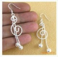 Musical Note Silver Drop Earrings with 925 Stamp, Amazing Wholesale Price Fashion Jewelry Earrings, free shipping