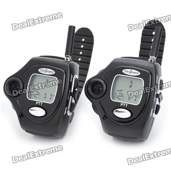 "Compact Wrist Watch Style 1.0"" LCD Walkie Talkies Set (Pair/2.5km-Distance) /sku:423"