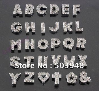 Diy rhinestone letter clear metal charm