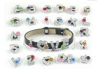 fashion charm jewerly Diy full clear rhinestone letter flower enamel metal charm for bracelet