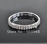 fashion popular stretch two rows rhinestone crystal bracelet