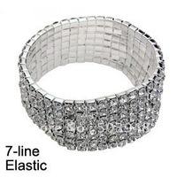 fashion popular stretch7ROWS silver rhinestone crystal bracelet