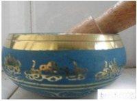 Rare Superb Tibetan OM Ring Gong YOGA Singing Bowl free shipping