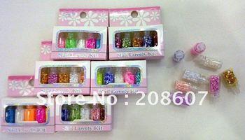 Free-Shipping Nail Art Nail Decoration Nail Supplies 10sets/lot  Gorgeous Nail Laser Sequins Flash Chip Glitter
