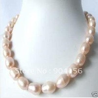 south sea BAROQUE Pink pearl necklace   Free Shipping