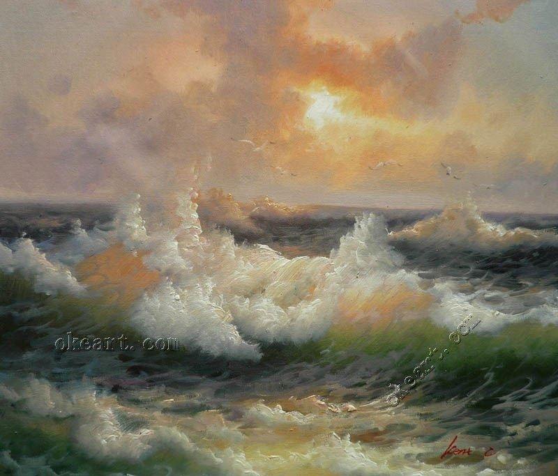 """Cenário contemporânea parede pintura ondas do mar à Pintura Original Sunrise Seascape Óleo sobre tela 20x24 """"005(China (Mainland))"""