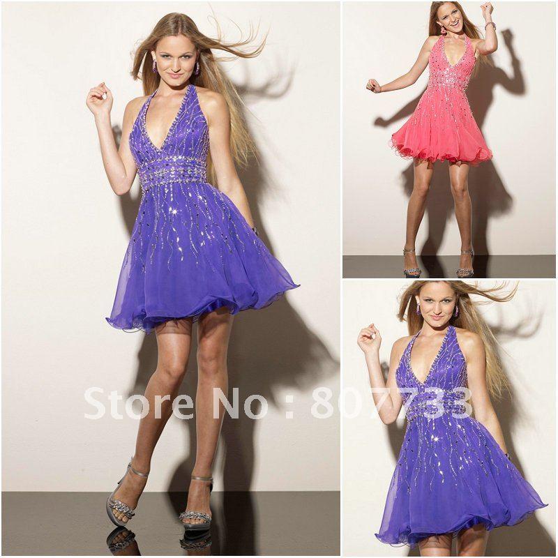 New C0079 cheap sexy short purple chiffon halter neck cocktail dress