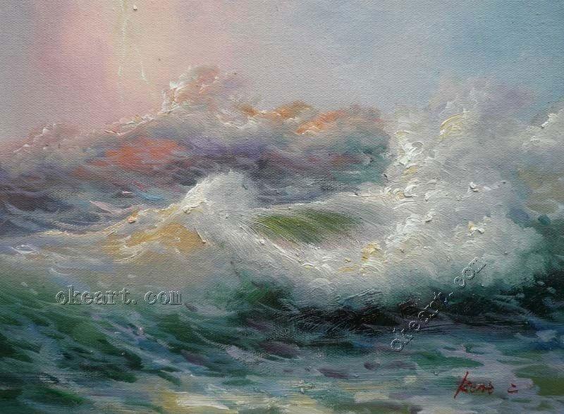 Pintura escritório contemporânea parede pintura oceano pintura Original Sunrise Seascape óleo sobre tela(China (Mainland))