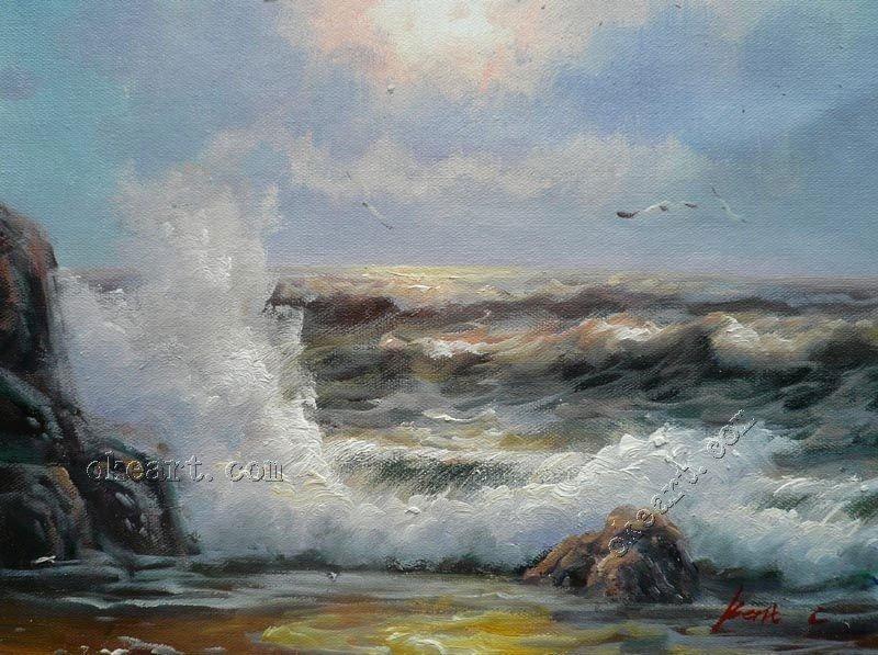 """ondas do mar romântico ao amanhecer original seascape pintura a óleo sobre tela 12x16"""" 009(China (Mainland))"""