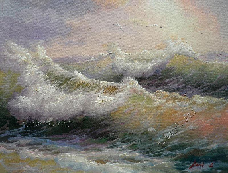 """Cenário Residence Riviera a sala retrato da parede ondas do mar de espuma quebrando pintura a óleo Seascape livre sobre tela 12 x 16 """"(China (Mainland))"""