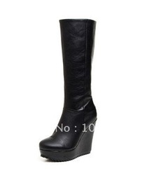 New style brand black leather with zipper boots Women&#39;s platform long boots(China (Mainland))