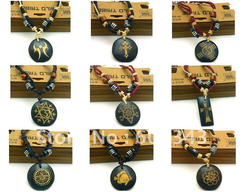 Wholesale Mens Leather And Bone Necklaces Xmas Gift Free Shipping Mix Order 36pcs/lot(China (Mainland))