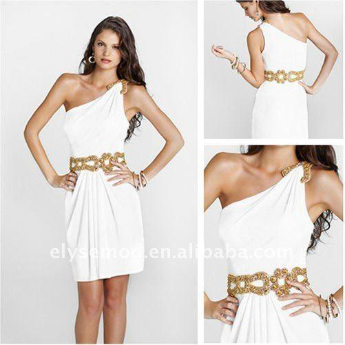 Elegant One Shoulder Short Gold Sequin Belt White Homecoming Dress