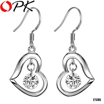 OPK JEWELRY 925 silver sterling earring  reatail heart earring drop Jewelry  586