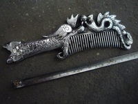 Rare Old Qing Dynasty(1782-1844) silver comb, with carving, best collection&adornment,Free shipping