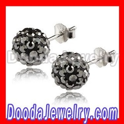 Free Shipping Shamballa Grey Czech Crystal Tresor Paris style Stud Earrings TP3405 Wholesale/Retail(China (Mainland))