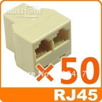 FreeShipping50x RJ45 CAT 5 6 LAN Ethernet Splitter Connector Adapter PC