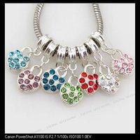 42pcs/lot New Assorted Heart Rhinestone Charms Dangle Beads Fit European Jewelry DIY 150822