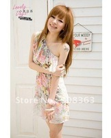 Fashion Korean Ladies Sexy shoulder Collar Chiffon dress wave