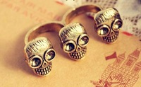 free shipping 12pcs/lot fashion double finger skull rings high-grade bronze rings alloy rings best jewelry best gift