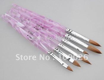 Nail Art Product 6 PCS Acrylic UV GEL KOLINSKY HAIR UV GEL NAIL BRUSH