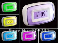 wholesale free shipping,10 pcs/lot,sound control colorful clock,Calendar,Color Change Clock