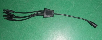 1 to 4 DC cable,20cm long, female to male;5.5mm/2.1mm