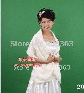 Long hair white flat bridal wedding accessories wedding shawl wool shawl 2025 bolero  white Faux fur shawls  Stole bridal jacket