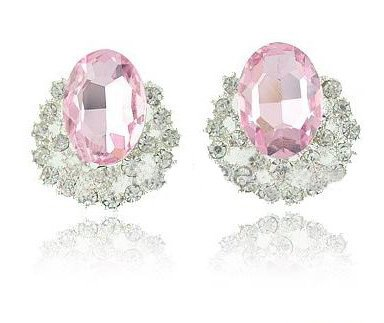 Wholesale Hot! Free Sample 5Pcs/Pair Fashion Pink Gems Earrings, Created Earrings, Charming Earbob, Chri ...