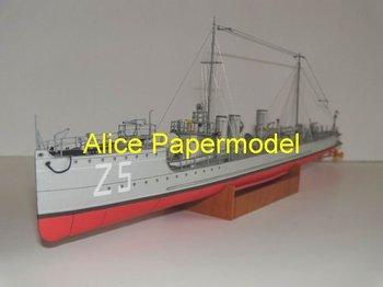 [Alice papermodel] Long 36CM 1:150 Z5 Ironclads models Battleship warship models