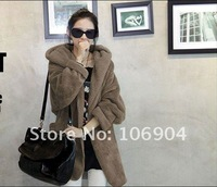2011 News Korea autumn and winter Big yards with cap cloak Plush thick coat Keep warm coat free shipping