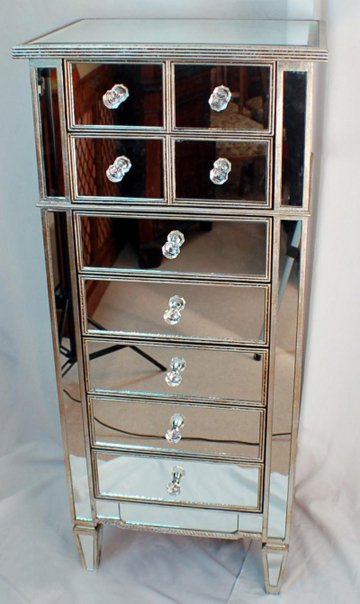 mr401113 glass mirrored furniture hall drawers tower with antique gold