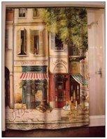 PARIS corner coffee shop / nostalgia / waterproof shower curtain / 183CMX183CM