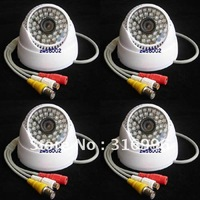 4 Pcs 520TVL SONY CCD Audio Color Video CCTV Surveillance Security Camera System DVR W93