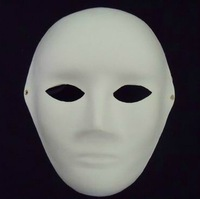 Free Shipping (50pcs/lot) Classic DIY Blank White Pulp Paper Mask Men's Face Style for Hand-painted Mask
