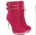 fashion frosted 2 color buckle lace-up diamond high heel rider  Martin women boots lady casual shoes free ship worldwide