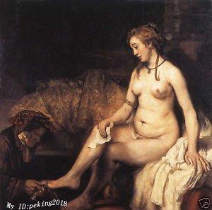"Free shipping 100% handcraftsart art oil painting:Bathsheba at Her Bath 24x""36inch(China (Mainland))"