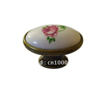 Bronze zinc alloy ceramic elliptical door knobs  Furniture Hardware accesories 50pc per lot Wholesale & retail Shipping discount