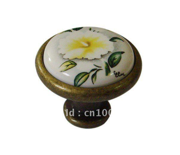 Bronze zinc alloy ceramic elliptical door knobs Furniture Hardware accesories 50pc per lot Wholesale & retail Shipping discount(China (Mainland))
