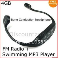 New Free Shipping 4GB Swim Bone conduction headphone Sport Waterproof MP3 Player/FM Radio Bundle