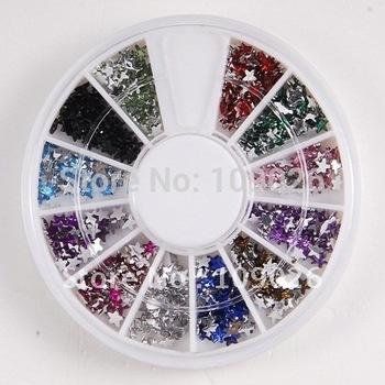 Free Shipping 10pcs/set 12Colors Star Glitter Rhinestones Wheel,Nail art Decoration For Nail art