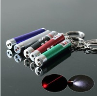 50pcs/LOT 5mw 650nm Mini 2in1 Red Laser Pointer with Led Torch and Keychain Cat Toy + FREE SHIPPING