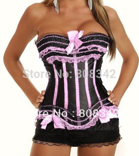 Free Shipping Lace Up Corset Sexy Lingerie with G-string Lady Bustier  Wedding Dress Corset Green Color MOQ 1 Piece 2339