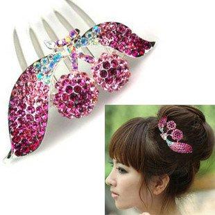 Wholesale Fashion Elegant Flower Hair Comb, Rhinestone Women Hair Jewelry, Headwear, Free Sample OY-H022